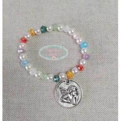Pulsera perlas y cristales colores medalla angel