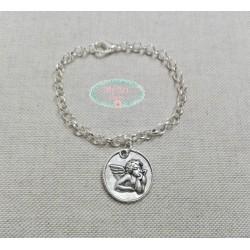 Pulsera cadena plateada medalla angel