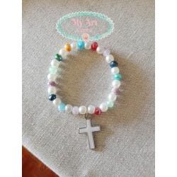 Pulsera perlas y cristales colores cruz blancal