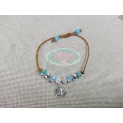 Pulsera cristales azules  y medalla cruz y virgen doble cara