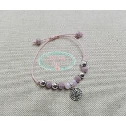 Pulsera cristales rosas  y medalla cruz y virgen doble cara