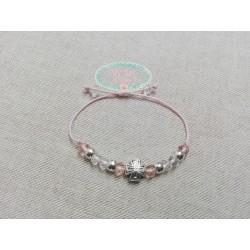 Pulsera cristales rosas  y cruz