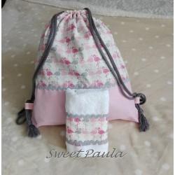 Mochila guarde flamencos rosas + toalla regalo
