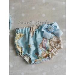 Culotte bebe mapamundi azul