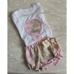 Conjunto culotte y camiseta mapamundi rosa