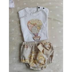 Conjunto culotte y camiseta globo  mapamundi tostado