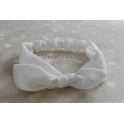 Turbante mujer lazo plumeti blanco