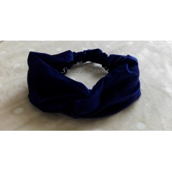 Turbante mujer cruzado terciopelo azul