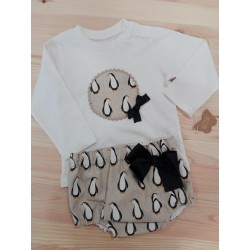 Conjunto braguita camiseta pinguinos