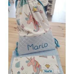 Mochila azul unicornio + toalla regalo