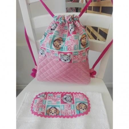 Mochila rosa patrulla canina + toalla regalo