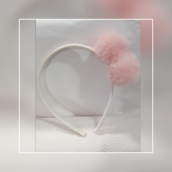 diadema base rosa pompones rosas
