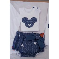 Conjunto cubrepañal camiseta Mickey azul