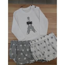 Conjunto cubrepañal camiseta estrellas gris