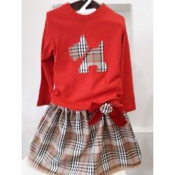 Conjunto falda y camiseta cuadros  burberry