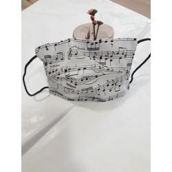 Mascarilla notas musicales/reversible negra