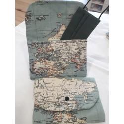 PortaMascarilla mapamundi azul