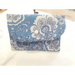 PortaMascarilla flores azul