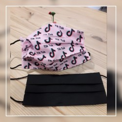 Mascarilla TIK TOK rosa /reversible en negro