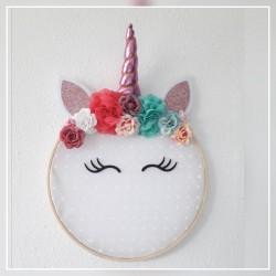 Bastidor decorativo unicornio rosa