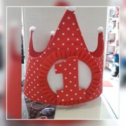 Corona cumpleaños roja topito blanco
