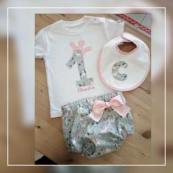 Pack cumpleaños conjunto braguita /camiseta y  babero unicornios