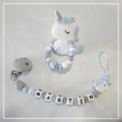 Pack chupetero + mordedor de silicona unicornio azul con nombre