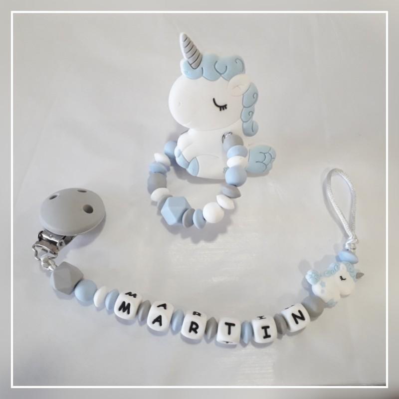 Chupetero silicona unicornio azul con nombre