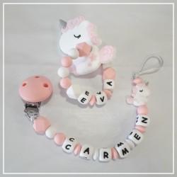 Pack chupetero + mordedor de silicona unicornio rosa con nombre