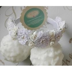 Diadema flor puntilla blanca