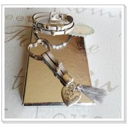 Conjunto pulsera+llavero cuero plata