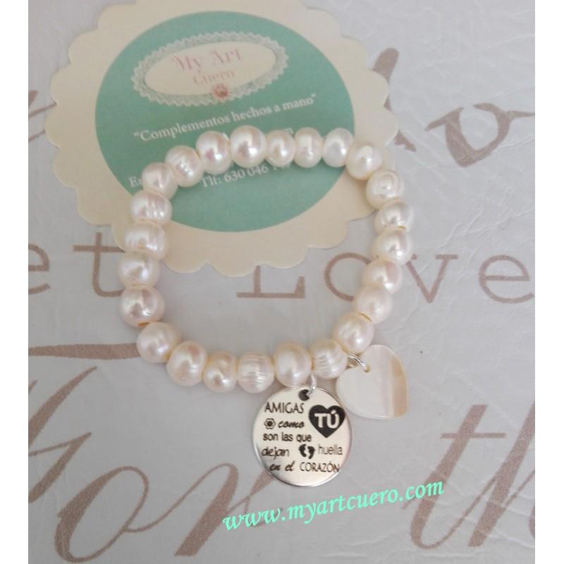 b5aa839ce1df Pulsera perlas de rio AMIGAS COMO TU - My Art Cuero